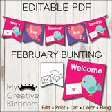 EDITABLE PDF February Bunting