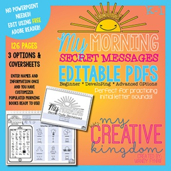 EDITABLE PDF First Letter Sounds Secret Sentences - Mornin
