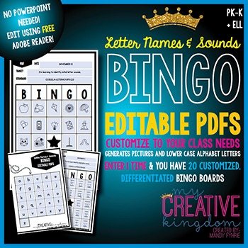 EDITABLE PDF First Letter Sounds and Picture BINGO