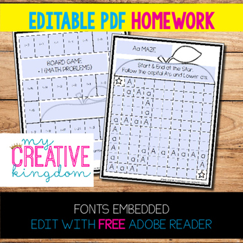 EDITABLE PDF Homework Templates