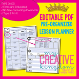 EDITABLE PDF Interactive Teacher Lesson Planner