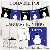 EDITABLE PDF January Bunting