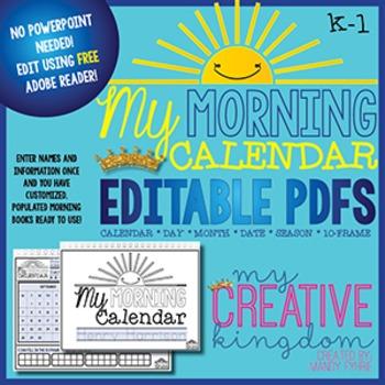 EDITABLE PDF K-1 Calendar book - Morning Workbook Series
