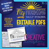 EDITABLE PDF K-1 Number book - Morning Workbook Series