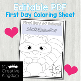 EDITABLE PDF Kissing Hand First Day Coloring Page