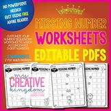 EDITABLE PDF Missing Number Worksheets