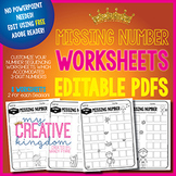EDITABLE PDF Missing Number Worksheets