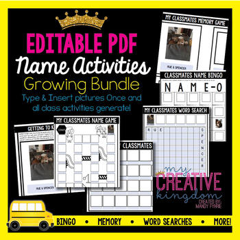 EDITABLE PDF Name Activities Growing Bundle