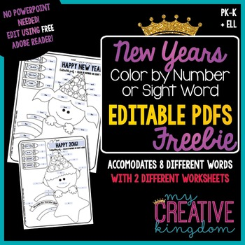 EDITABLE PDF {New Years} Color by Number or Sight Word Freebie