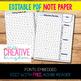 EDITABLE PDF Note Paper