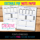 EDITABLE PDF Note Paper