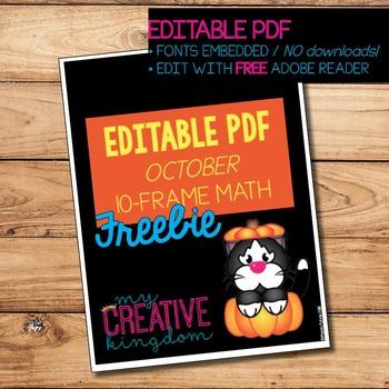 EDITABLE PDF October Cat and Pumpkin Ten Frame Printables