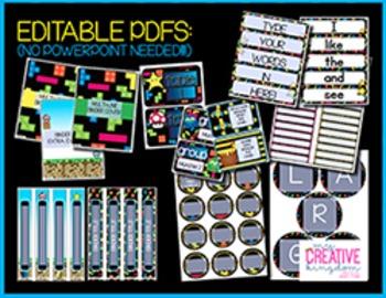 EDITABLE PDF Pixel Gaming Class Theme Mega Bundle Free Preview
