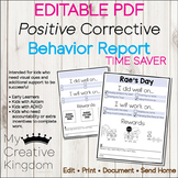 EDITABLE PDF Positive Corrective Behavior Report Contract Pages