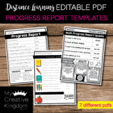 EDITABLE PDF Progress Report Templates • Distance Learning