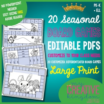 EDITABLE PDF Seasonal Board Games (20) - Large Print