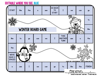EDITABLE PDF Seasonal Board Games (20) - Large Print