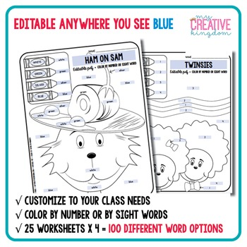 EDITABLE PDF Read in America 100 Color by Number or Sight Word