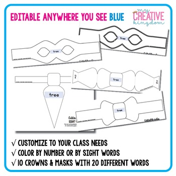 EDITABLE PDF Sight Word Accessories