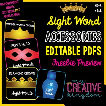EDITABLE PDF Sight Word Accessories: Crown Freebie