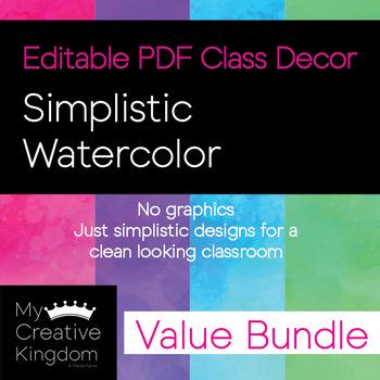 EDITABLE PDF Simplistic Watercolor Decor Value Bundle