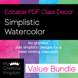 EDITABLE PDF Simplistic Watercolor Decor Value Bundle