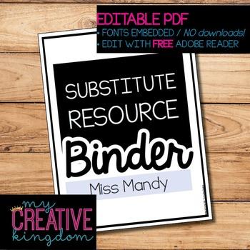EDITABLE PDF Substitute Planner Binder Starter