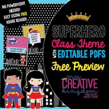 EDITABLE PDF Super Hero Class Theme Mega Bundle Free Preview