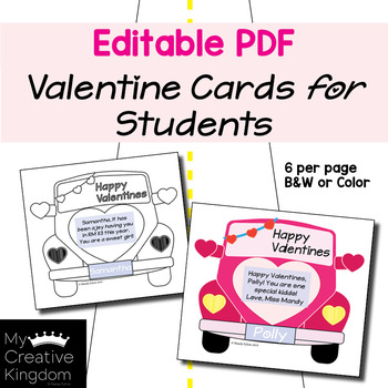 EDITABLE PDF Valentines Love Bug Cards for Students