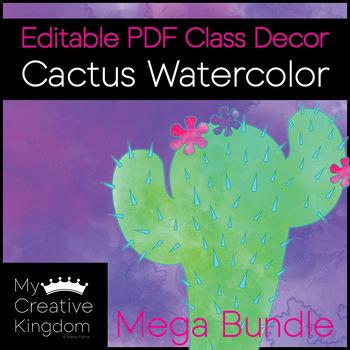 EDITABLE PDF Watercolor Cactus Theme Decor Mega Bundle