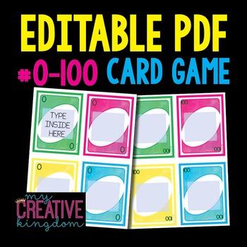 EDITABLE PDF Wild Card Game