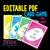 EDITABLE PDF Wild Card Game