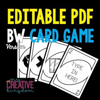 EDITABLE PDF Wild Card Game (BW Version)