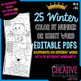 EDITABLE PDF {Winter} 100 Color by Number or Sight Word