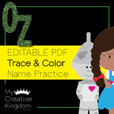 EDITABLE PDF Wizard of Oz Trace and Color Name Practice - PK-1
