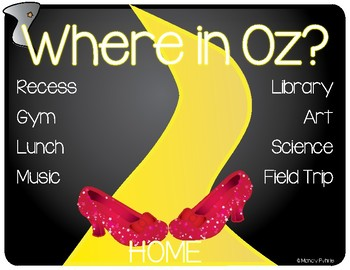 EDITABLE PDF Wizard of Oz - Where are We Poster and Schedule Cards