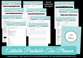 EDITABLE PINK tax planner financial organizer money reimbursement tax deductions