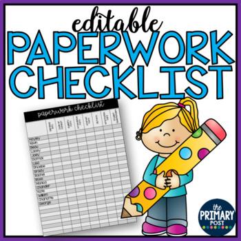 EDITABLE Paperwork Checklist