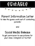 EDITABLE Parent Information Sheet & Social Media Release Forms