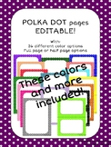 EDITABLE Parent Letter, Announcement, Newsletter, Stationary Polka Dot Border