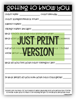 EDITABLE Parent Questionnaire- getting to know you