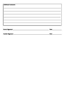 EDITABLE Parent-Teacher Conference Form