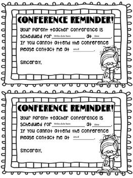 EDITABLE Parent Teacher Conference Forms Goal Sheet Reminder