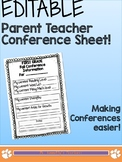 EDITABLE Parent Teacher Conference Info Sheet