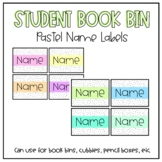 EDITABLE Pastel Name tags for Student Book Bins, Cubbies, Supplies, etc.