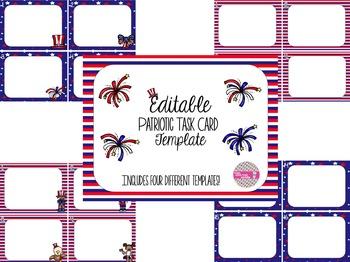 EDITABLE Patriotic Task Card Template