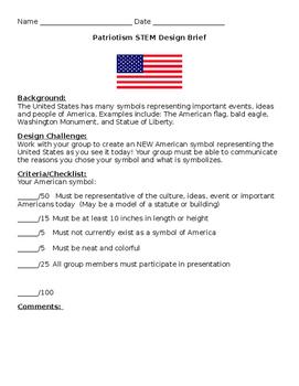 EDITABLE Patriotism STEM Design Brief American Symbols