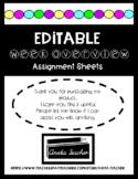 Assignment Sheet & Newsletter EDITABLE