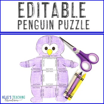 EDITABLE Penguin Centers or Activities - Make your own Math or Literacy Puzzles!