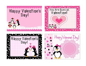 *EDITABLE* Penguin Valentine's Cards for Students, Staff! EASY to Personalize
